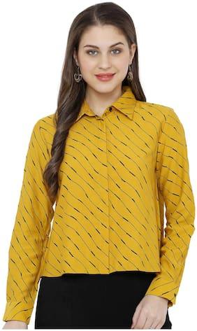 Soie Women Mustard Cotton Striped Regular Top