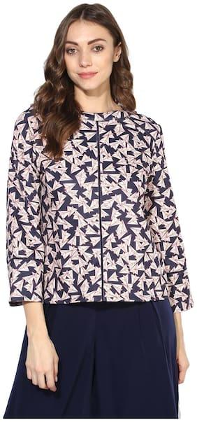 Soie Women's Navy Blue Printed Flared Sleeve Short Top