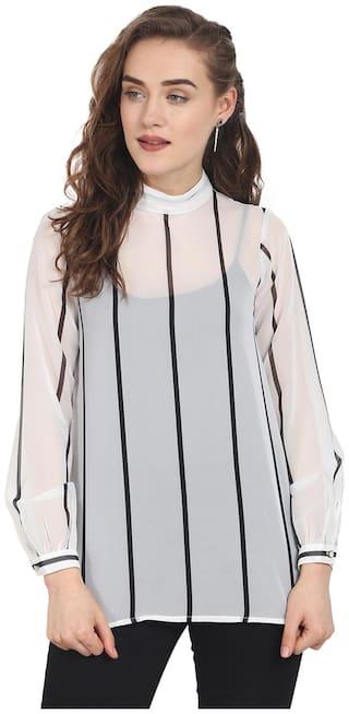 Soie Women Striped Regular top - White