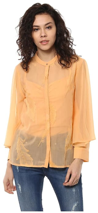 Shirt Butterfly Soie Embroidered Sleeve Women's qXfIwRF