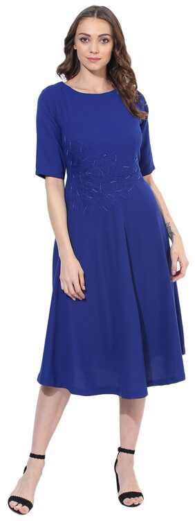 Soie Women's Fit And Falred Embroidered Dress