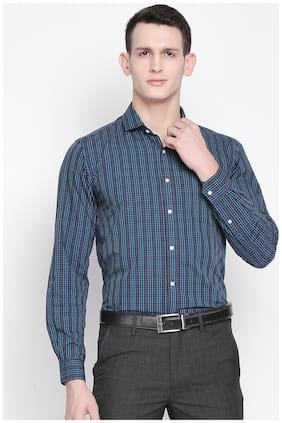 Men Regular Fit Checked Formal Shirt