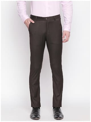 Solemio Men Solid Regular Fit Formal Trouser - Brown