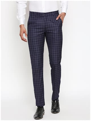 Solemio Men Checked Slim Fit Formal Trouser - Navy Blue