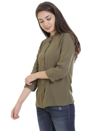 Solid 3/4Th Sleeves Shirt;Olive