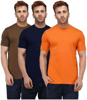 Solid Men Half Sleeve Round Neck Dark Blue;Brown And Orange T-Shirt