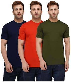 London Hills Solid Men Half Sleeve Round Neck Dark blue;Red;Olive Green T-Shirt ( Pack of 3)