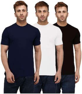 London Hills Men Multi Regular fit Cotton Round neck T-Shirt - Pack Of 3