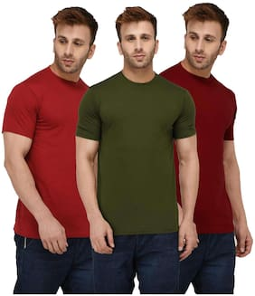 Solid Men Half Sleeve Round Neck Rust Red;Olive Green;Maroon T-Shirt
