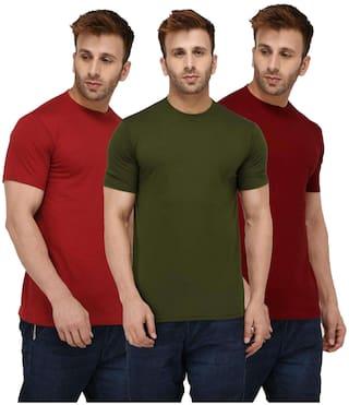 16b3b189c London Hills Solid Men Half Sleeve Round Neck Rust Red Olive Green Maroon T