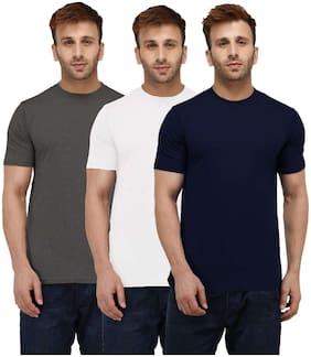 London Hills Solid Men Half Sleeve Round Neck Dark Blue;Dark Grey;White T-Shirt (Pack of 3)