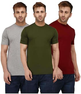 Solid Men Half Sleeve Round Neck Rust Red;Olive Green;Grey T-Shirt
