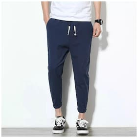 Chrome & Coral Men Navy blue Solid Slim fit Track pants