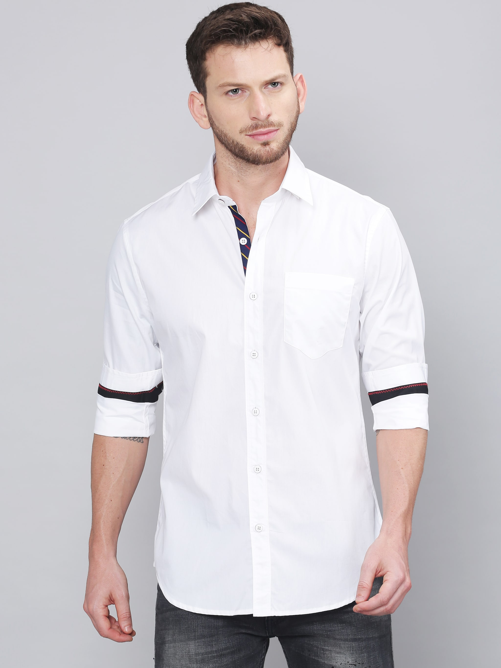 Solid Styles Men White Solid Regular Fit Casual Shirt