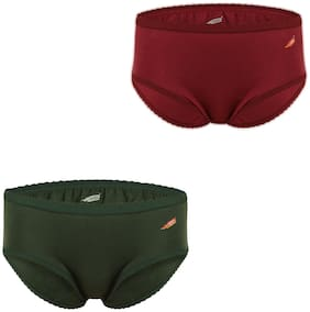Solo Pack Of 2 Solid High Waist Hipster Panty - Green & Maroon