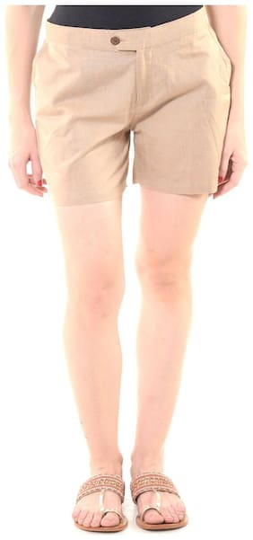 Soul Collective Women Solid Regular shorts - Beige