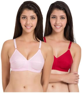 Souminie Cotton Non Strechable Pink Red (Pack Of 2) Non-Wired Bra