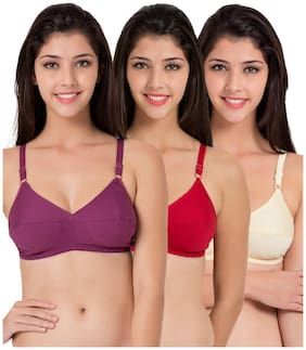 Souminie Flexi Fit Cotton Multicolor Non Padded (Pack Of 3) Non-Wired Bra
