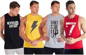 South City Men Multi Regular fit Cotton Round neck T-Shirt - Pack Of 4