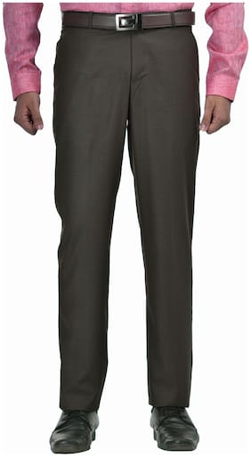 South India Shopping Mall Men Solid Slim Fit Formal Trouser - Brown