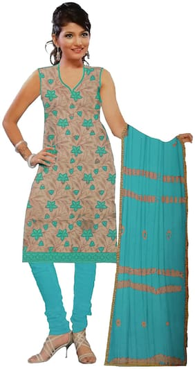 South India Shopping Mall Cotton Floral Regular Suit - Grey;Turquoise