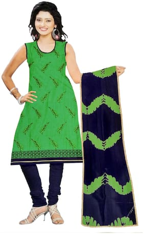 South India Shopping Mall Cotton Printed Regular Suit - Green;Blue