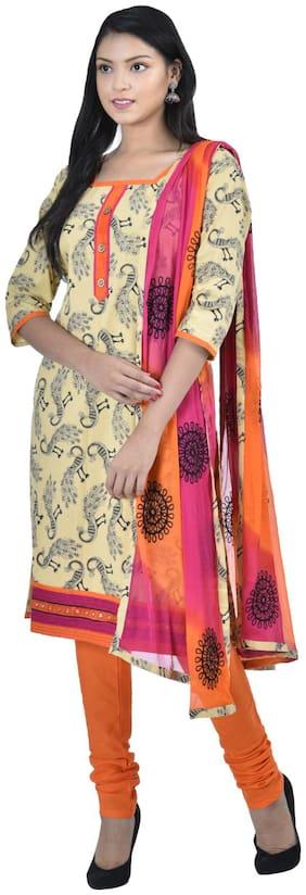 South India Shopping Mall Hosh Gold Animal Print Cotton Women Dress Materal