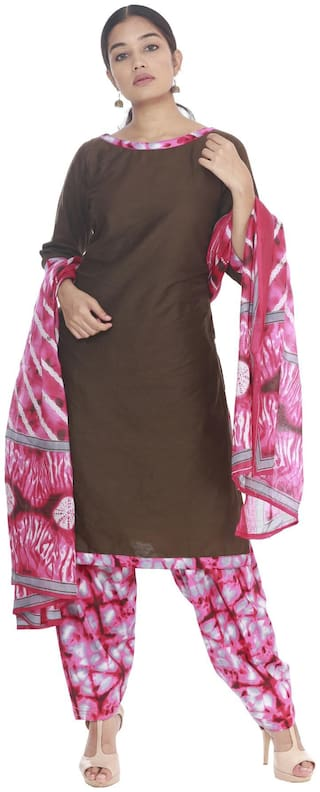 South India Shopping Mall - Hosh Women Coffee Cotton Dress Material