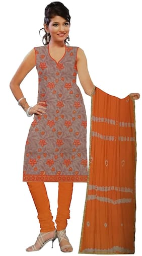 South India Shopping Mall Cotton Floral Regular Suit - Orange;Grey