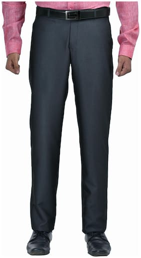 South India Shopping Mall Men Solid Slim Fit Formal Trouser - Grey