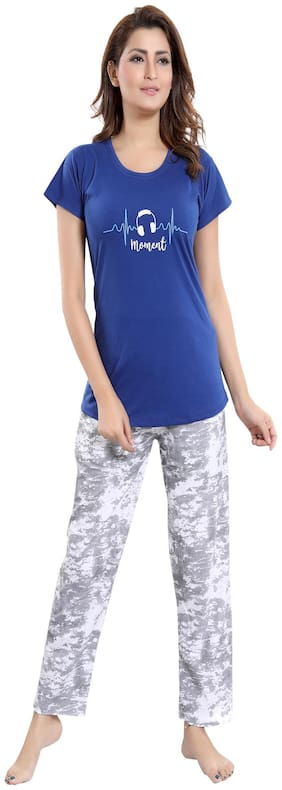 South India Shopping Mall Women Hosiery Printed Top and pyjama set - Multi