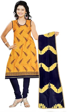 South India Shopping Mall Cotton Printed Regular Suit - Yellow;Blue