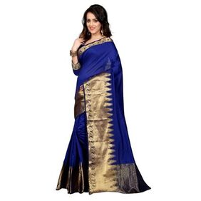 South Indian Blue Saree With Blouse For Women