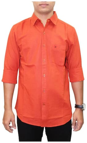 Southbay Men Orange Solid Regular Fit Casual Shirt
