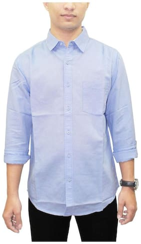 South Bay Men Blue Solid Regular Fit Casual Shirt