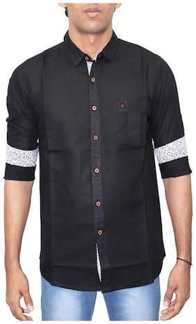 Southbay Men Black Solid Regular Fit Casual Shirt