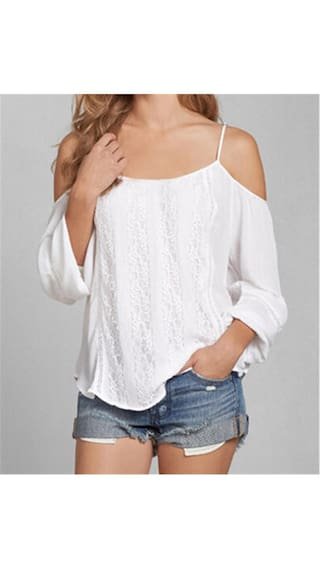 Spaghetti Strap White Long Sleeve Lace Blouse For Women