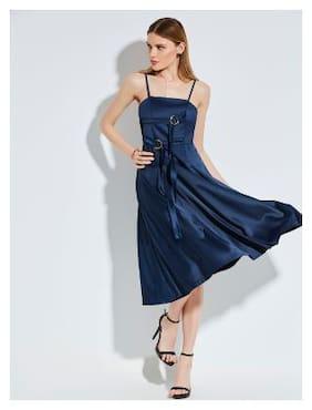 Kinikiss Polyester Floral A-line dress Blue