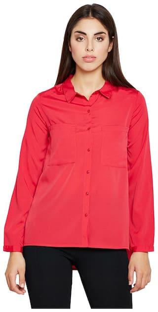 OXOLLOXO Women Pink Solid Regular Fit Shirt