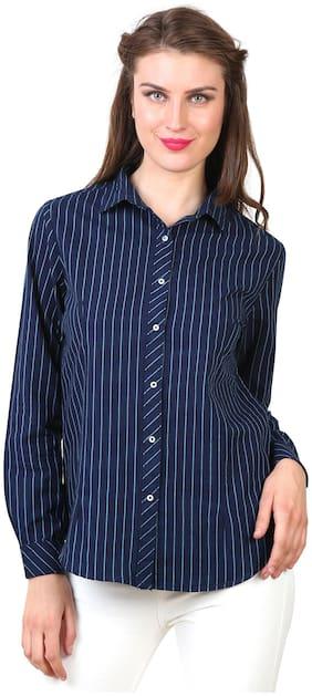 Speak Women Blue Striped Regular Fit Shirt