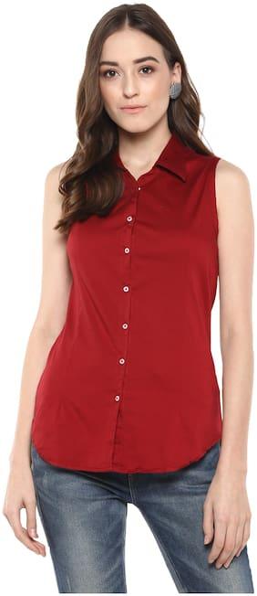Speak Women Maroon Solid Slim Fit Shirt