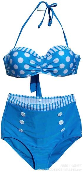 Spice it up Women Polyester Printed Bikini - Blue