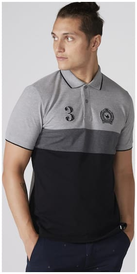 Men Polo Neck Colorblocked T-Shirt