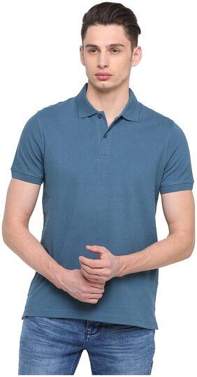 Splash Men Regular Fit Polo Neck Solid T-Shirt - Blue