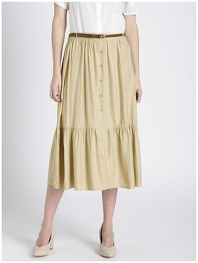 Splash Solid Straight Skirt Midi Skirt - Beige