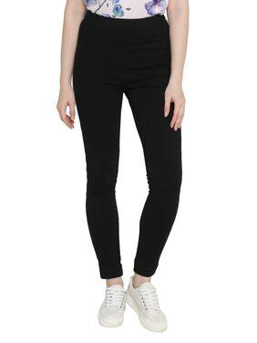 Splash Women Regular Fit Mid Rise Solid Pants - Black