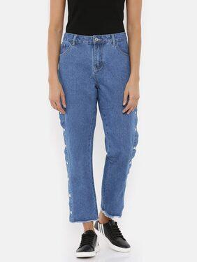 Splash Women Regular Fit Mid Rise Solid Jeans - Blue