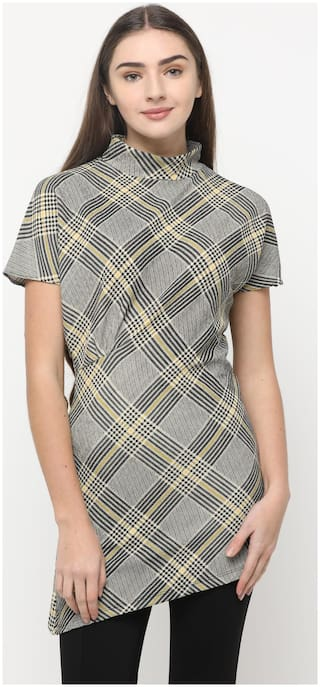 Splash Women Checked Regular top - Grey