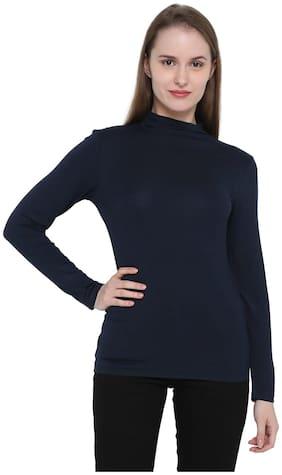 Splash Women Viscose Solid - Regular top Blue
