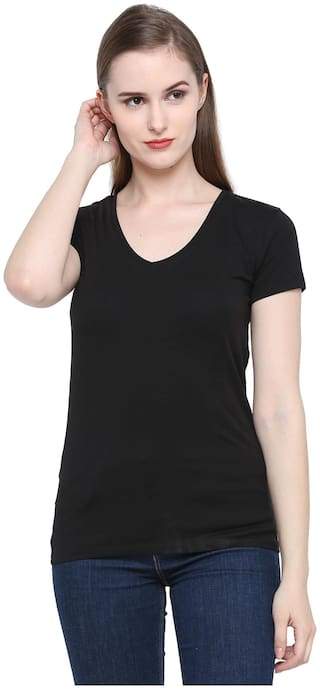 Splash Women Solid Regular top - Black